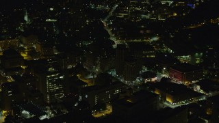 AX108_243 - 4K stock footage aerial video flying over University of Pittsburgh campus, Pittsburgh, Pennsylvania, night