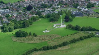 AX109_014 - 6K stock footage aerial video orbit Robert the Bruce statue, Stirling, Scotland