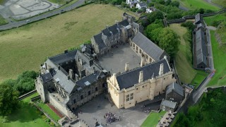 AX109_041 - 6K stock footage aerial video orbiting Stirling Castle and its grounds, Scotland