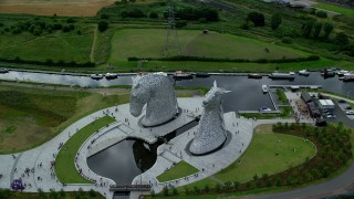 AX109_131 - 6K stock footage aerial video of The Kelpies sculptures in Falkirk, Scotland