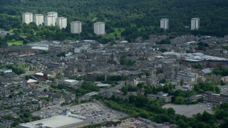 AX109_136 - 6K stock footage aerial video of the Scottish town of Falkirk, Scotland