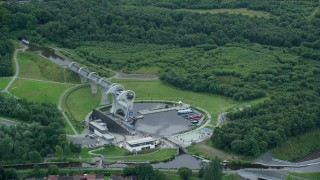 AX109_138 - 6K stock footage aerial video of the Falkirk Wheel in Scotland