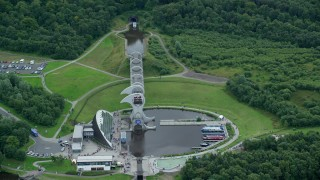 AX109_140 - 6K stock footage aerial video of panning across the Falkirk Wheel in Scotland