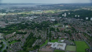 AX109_148 - 6K stock footage aerial video of flying over the Scottish town, Falkirk, Scotland