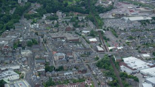 AX109_153 - 6K stock footage aerial video of streets and buildings, Falkirk, Scotland