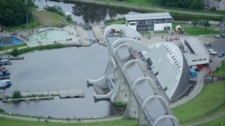 AX109_163 - 6K stock footage aerial video of an orbit of the iconic Falkirk Wheel boat lift, Scotland