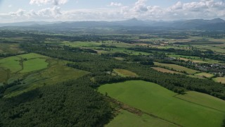AX110_030 - 6K stock footage aerial video of forests and farm fields, Kippen, Scotland