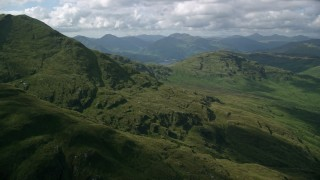 AX110_048 - 6K stock footage aerial video approach Ben Lomond in the Scottish Highlands, Scotland