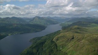 AX110_058 - 6K stock footage aerial video of Loch Lomond in the Scottish Highlands, Scotland