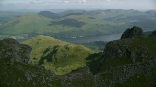 AX110_078 - 6K stock footage aerial video of orbiting The Cobbler with views of Loch Long, Scottish Highlands, Scotland