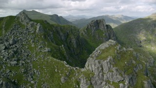 AX110_081 - 6K stock footage aerial video of The Cobbler mountain, Scottish Highlands, Scotland