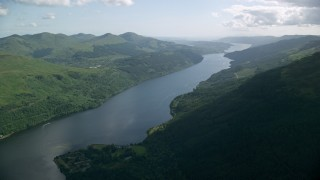 AX110_089 - 6K stock footage aerial video of a view of the calm waters of Loch Long, Scottish Highlands, Scotland