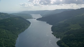 AX110_091 - 6K stock footage aerial video of Loch Long in the Scottish Highlands, Scotland