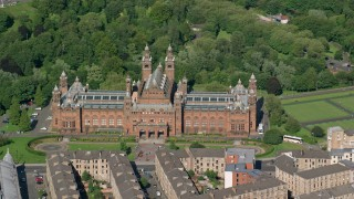 AX110_176 - 6K stock footage aerial video of Kelvingrove Art Gallery and Museum, Glasgow, Scotland
