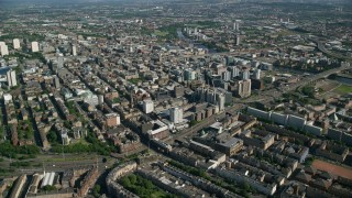 AX110_180 - 6K stock footage aerial video of a wide view of the city of Glasgow, Scotland