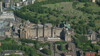 AX110_183 - 6K stock footage aerial video of Glasgow Royal Infirmary hospital in Scotland