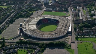 AX110_193 - 6K stock footage aerial video approach the Hampden Park soccer stadium, Glasgow, Scotland