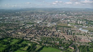 AX110_195 - 6K stock footage aerial video of a wide view of the city of Glasgow, Scotland