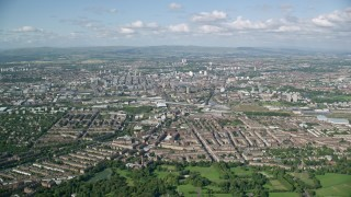 AX110_197 - 6K stock footage aerial video of a wide view of Glasgow, Scotland