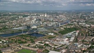 AX110_203 - 6K stock footage aerial video approach River Clyde near Glasgow Science Centre, Glasgow, Scotland