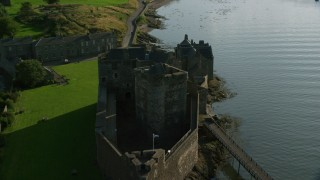 AX111_036 - 6K stock footage aerial video fly over iconic Blackness Castle by the River Forth, Scotland