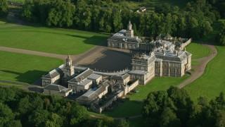 AX111_048 - 6K stock footage aerial video of iconic Hopetoun House and grounds, Scotland