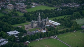 AX111_113 - 6K stock footage aerial video of Fettes College in Edinburgh, Scotland