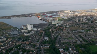 AX111_114 - 6K stock footage aerial video approach Port of Edinburgh, Scotland