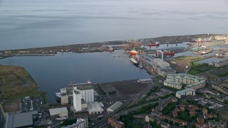 AX111_115 - 6K stock footage aerial video of the Port of Edinburgh, Scotland
