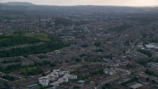 AX111_127 - 6K stock footage aerial video of city office and apartment buildings, Edinburgh, Scotland