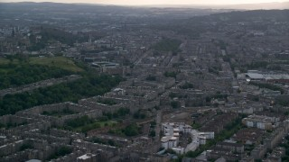 AX111_128 - 6K stock footage aerial video of office and apartment buildings in Edinburgh, Scotland