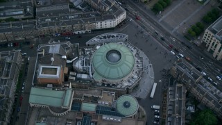 AX111_137 - 6K stock footage aerial video of a bird's eye view of the Traverse Theatre and Usher Hall concert hall, Edinburgh, Scotland