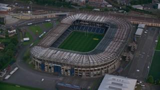 AX111_166 - 6K stock footage aerial video of orbiting Murrayfield Stadium, Edinburgh, Scotland