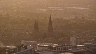 AX112_028 - 6K aerial stock footage video of St Mary's Cathedral, Edinburgh, Scotland at sunset