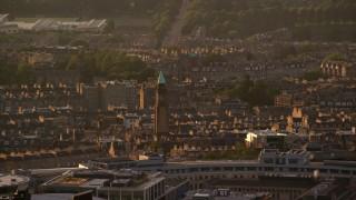 AX112_030 - 6K stock footage aerial video of Saint George's West Church, Edinburgh, Scotland at sunset