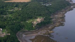 AX113_054 - 6K stock footage aerial video of Culzean Castle beside Firth of Clyde, Maybole, Scotland