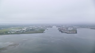 AX113_073 - 6K stock footage aerial video approach Port of Belfast, Northern Ireland