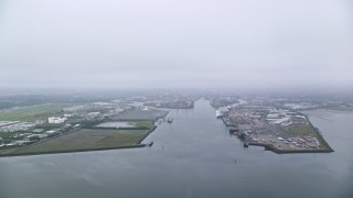 AX113_074 - 6K stock footage aerial video of an approach to Port of Belfast, Northern Ireland