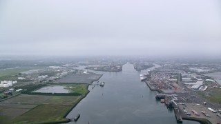 AX113_075 - 6K stock footage aerial video of Port of Belfast in Belfast Harbor, Northern Ireland