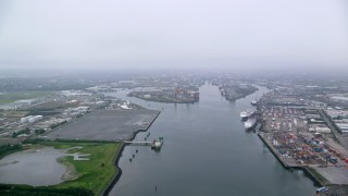 AX113_076 - 6K stock footage aerial video of flying over the Port of Belfast, Northern Ireland