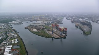 AX113_078 - 6K stock footage aerial video of docks at the Port of Belfast, Northern Ireland
