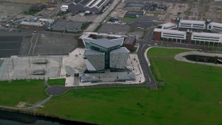AX113_086 - 6K stock footage aerial video of the Titanic Museum, Belfast, Northern Ireland