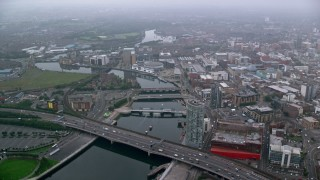 AX113_087 - 6K stock footage aerial video of bridges over River Lagan, Belfast, Northern Ireland