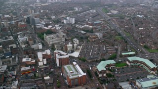 AX113_090 - 6K stock footage aerial video of city streets and office buildings, Belfast, Northern Ireland