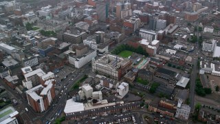 AX113_092 - 6K stock footage aerial video of orbiting city office buildings, Belfast, Northern Ireland