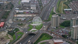 AX113_094 - 6K stock footage aerial video of the Rise sculpture and M1 Freeway, Belfast, Northern Ireland
