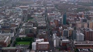 AX113_103 - 6K stock footage aerial video approach Belfast City Hall on Grosvenor Road, Belfast, Northern Ireland