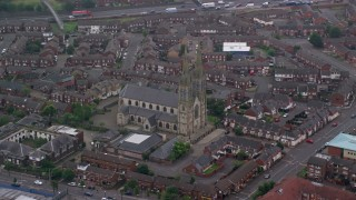 AX113_112 - 6K stock footage aerial video of orbiting St Peter's Cathedral, Belfast, Northern Ireland