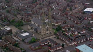 AX113_113 - 6K stock footage aerial video of St Peter's Cathedral, Belfast, Northern Ireland