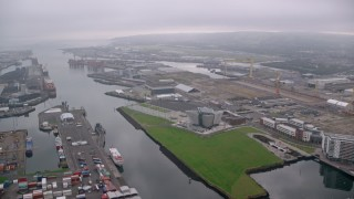 AX113_119 - 6K stock footage aerial video of Port of Belfast and Titanic Museum in Northern Ireland